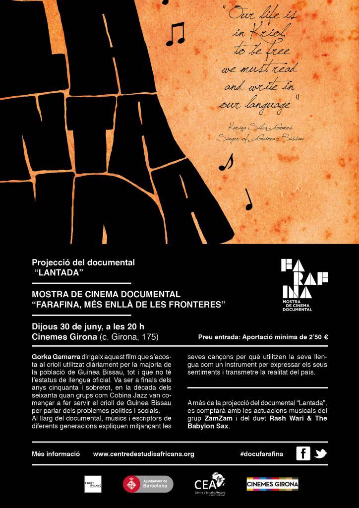 """Quarta Sessió de la Mostra de Cinema Documental """"Farafina 2016""""."""