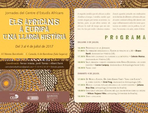 """Jornades """"Els africans a Europa: una llarga història"""" – 3 i 4 de juliol de 2017"""